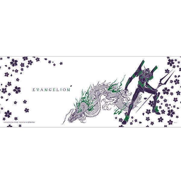 Eva錦のイラスト初号機と龍綾波レイと月見華を使用した手ぬぐい