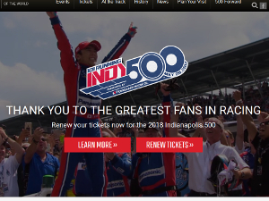 Indianapolis Motor Speedway 公式サイト・トップページSS画像